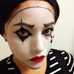 Mime makeup halloween mime red lips