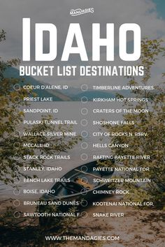 Idaho Adventure Bucket List This includes stops in Boise Sandpoint Coeur dAlene Priest Lake and everywhere in between Save this pin for Idaho travel inspiration later and. Adventure Bucket List, Adventure Travel, Family Adventure, Adventure Awaits, Bucket List Destinations, Travel Destinations, Travel List, Travel Guides, Shopping Travel