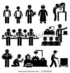 Factory Worker Engineer Manager Supervisor Working Stick Figure Pictogram Icon Stock Vector 130502288 : Shutterstock