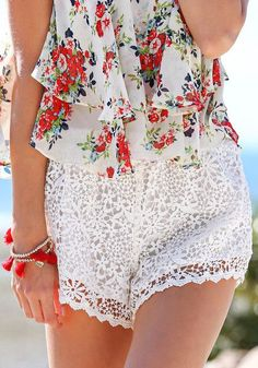 Crochet Overlay Shorts - White