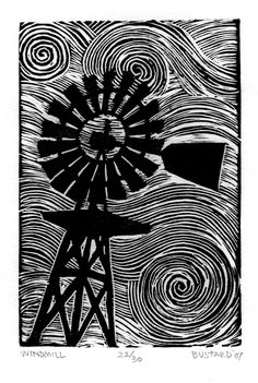 PRINT Windmill BLACK LINOCUT 4x6 by WorldsEndImages on Etsy