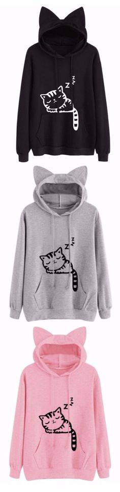 Sleeping Cat Pattern Drawstring Pullover Hoodie