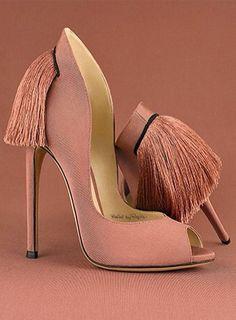 ALEKSANDER SIRADEKIAN | Tassel | Stiletto | Open Toe | Pink | Pump | Heels | Night Out | Clubbing | Classy | Chic | Elegant
