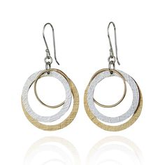 Two Tone Multi Hoop Dangle Earrings 925 Sterling Silver and 14k Gold Filled Circles Earring >>> You can get more details by clicking on the image. (This is an affiliate link) #JewelryDesign