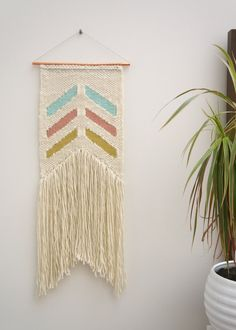 "Woven wall hanging / ""Blurred Lines"" / tapestry / weaving / weave / yarn weaving…"