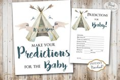 Don't forget to include Prediction For The baby Printable to your celebration. This fun game will get everyone excited. These can be saved as keepsakes and included in the baby's scrapbook. INSTANT DOWNLOAD  Printable Boho Teepee Boy Predictions for the Baby sign and card perfect for a bohemian baby shower celebration. Find more coordinating printables at JanePaperie: https://www.etsy.com/shop/JanePaperie