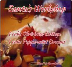 Santa's Workshop = 1 cube Christmas Cottage + 1 cube Peppermint Dreams