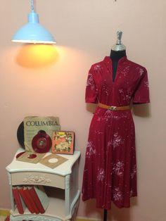 Check out this item in my Etsy shop https://www.etsy.com/il-en/listing/512409509/vintage-dress-50s-dress-bordeaux-dress