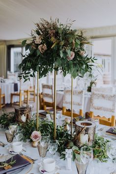 Tall table centres in our event suite are perfect as well as looking lovely, they mean your guests can chat across the table 📸 - Claire Randell Barn Wedding Venue, Rustic Wedding, Wedding Reception, Tall Table, Table Centers, London Wedding, Outdoor Ceremony, Rustic Decor, Claire
