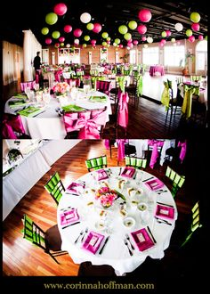 hot pink,lime green,wedding colors