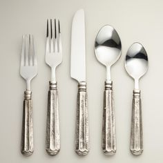 Danieli Flatware Collection at world market. Great flatware for the rustic feel of Thanksgiving. Rustic Flatware, Modern Flatware, Silver Cutlery, Farmhouse Decor, Stainless Steel Cutlery, Everyday Dishes, Dinner Fork, Kitchen Knives, Home Organization