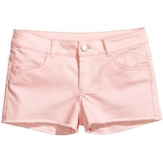 H&M Short twill shorts ($2.66) ❤ liked on Polyvore featuring shorts, bottoms, short, h&m, powder pink, hot pink pants, twill shorts, short hot pants, micro short shorts and mini shorts