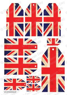 Vintage Union Jack Tag Collage Sheet - Digital Download