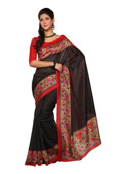 Fabdeal Cream & Black1 Colored Super Bhagalpuri Silk Saree!!!!! http://www.surpluss.in/fabdeal-black-colored-bhagalpuri-silk-saree