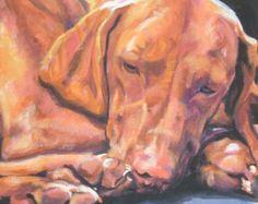 Vizsla portrait CANVAS art print of LA Shepard painting 8x8 dog art