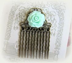 Mint Wedding Comb Mint Green Flower Hair Comb Bride Hair Comb Vintage Style Green Wedding Comb Shabby Chic Bridal Comb by Jewelsalem