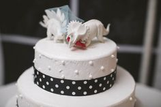Married in the Middle of Hurricane Sandy: Laura & Rich Dinosaur Wedding, Wedding Planning List, Dinosaur Cake Toppers, Bad Storms, Hurricane Sandy, Cake Decorating, Wedding Cakes, Wedding Ideas, Decorated Cakes