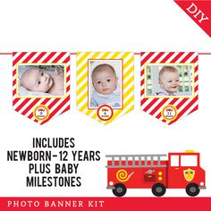 Month by month photo banner Birthday Photo Banner, Mickey Birthday, Firefighter Birthday, Monthly Photos, Cupcake Party, Baby Milestones, Party Photos, Photo Displays, Fire Trucks