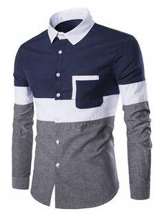 Long Sleeve Casual Panel Shirt - Cadetblue - - Men's Clothing Men's Tops & T-Shirts Men's Shirts # # Mens Shirts Sale, Cool Shirts For Men, Men's Shirts And Tops, Mens Designer Shirts, Stylish Shirts, Casual Shirts For Men, Men Casual, Men Shirts, Shirt Men
