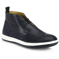 Giorgio Armani Textured Chukka Sneakers (20.855 RUB) ❤ liked on Polyvore featuring men's fashion, men's shoes, men's sneakers, apparel & accessories, dark blue, mens rubber shoes, mens leather sole shoes, mens woven leather shoes, mens sneakers and mens shoes