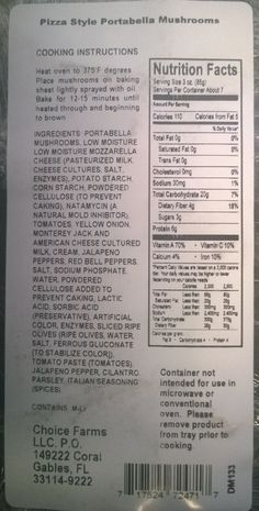 Pizza style Portabella Mushrooms, (2 count tray, 8 oz.), nutrition facts panel Choice Farms LLC Recalls Very Limited Quantity of Mushrooms Stuffed with Cheese Supplied by a Third Party that may have the potential for Listeria monocytogenes Contamination