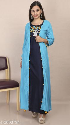 Kurtis & Kurtas Women's Embroidered Rayon Kurti Fabric: Kurti- Rayon, Jacket- Rayon Sleeves: 3/4 Sleeves Are Included Size: Kurti & Jacket- M - 38 in, L - 40 in, XL - 42 in Length: Kurti- Up To 53 in, Jacket- Up To 52 in Type: Stitched Description: It Has 1 Piece Of Kurti With 1 Piece Of Jacket Work: Embroidered Sizes Available: M, L, XL   Catalog Rating: ★4.3 (1235)  Catalog Name: Divine Pretty Rayon Womens Embroidered Kurtis Vol 1 CatalogID_264805 C74-SC1001 Code: 506-2003794-4161