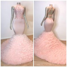 African Tulle Ruffles Pink Prom Dresses Mermaid 2019 Sexy Halter Backless Elegant Women Prom Party Gowns For Black Girls Sexy Dresses, Pink Prom Dresses, Mermaid Prom Dresses, Cheap Prom Dresses, Wedding Dresses, Bridesmaid Dresses, Prom Outfits, Glam Dresses, Quinceanera Dresses
