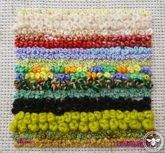 French knots using various types of yarn/thread