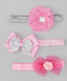 Another great find on #zulily! Gray & Pink Headband Set by Baby Essentials #zulilyfinds