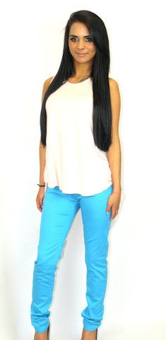 Bright blue coloured jeans