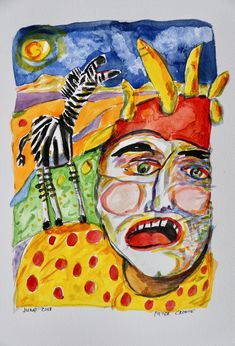 Flying from Kenya to Eritrea I made these on the aeroplane Clown Paintings, Watercolor Paintings, Watercolour, Toothless, Kenya, Art, Pen And Wash, Art Background, Watercolor Painting