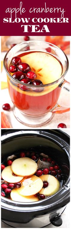 Apple Cranberry Slow Cooker Tea Recipe - warm and cozy tea with fresh cranberries and apples, cooked in slow cooker. Perfect for chilly fall and winter days!