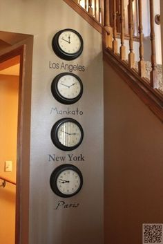 Interior Decor Ideas -- world times on a wall (buy four of the least expensive clocks from Walmart, and choose four of your favorite cities: New York, Tokyo, London, Paris) with four different fonts --- and change them up periodically!