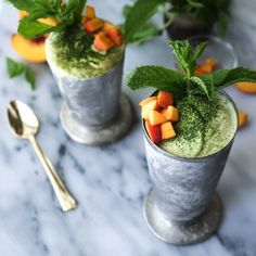 Matcha Peach Lassis! A refreshing and uplifting yogurt drink to get your day started.
