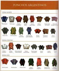 Uma ilustração, de poncho e  cada um com seu nome, que tal descobrir como se chama o seu poncho ?