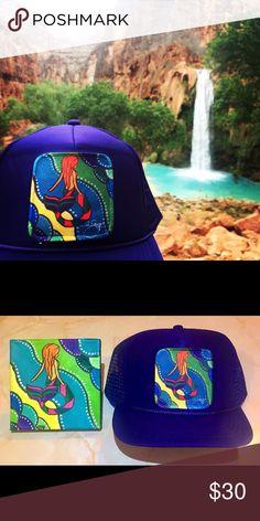 Mermaid Trucker Hat Made from my original paintings. Handmade from local Colorado Artist Ali Stift @alistiftart  aliart.bigcartel.com Ali Stift Accessories Hats