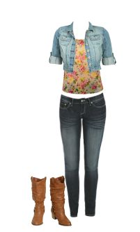 WetSeal.com Runway Outfit:  Denim fame by cydneyh.- Floral Print Tank $11.99- Uptown Skinny Jean-Regular Code: 45594434 $26.50- Tall Leatherette Harness Boot (TAN) Code: 46294074 $34.50- Denim Cropped Cuffed Jacket (MED SNDBLST)  Code: 46439864 $29.50- Total Price: $102.49