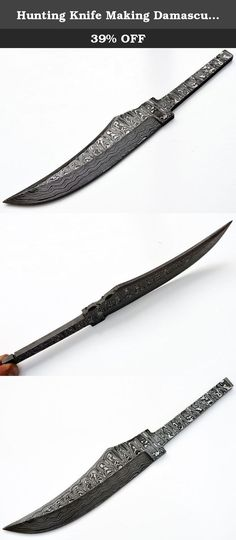 Hunting Knife Making Damascus Upswept Large Blank Knives Steel 1095 High Custom Blade. This item is for hunting. This blade is handmade from 1095 steel and 15n20. As you may know, 1095 is a traditional and sought after American high carbon steel that is prized for knife blades. It is hardened to about 57-60 on the Rockwell C scale (HRC). This blade is a serious blade that will work well for hunting and fishing. It can be easily sharpened at home or in the field, and will hold an edge very...