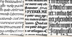 Side by side script comparison. From left to right: Carolingian, pre-Gothic and Gothic (Textualis Formata). Copyright: No statement or manuscript source listed. See web page.