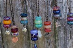 Lampwork Glass Beaded Lariat Necklace Interchangable door Venbead