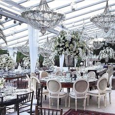 FOR THE RECEPTION    All white reception in a clear span marquee with chandeliers    NOVELA BRIDE...where the modern romantics play & plan the most stylish weddings... www.novelabride.com @novelabride #jointheclique