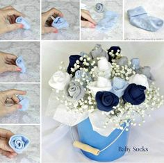 Baby Socks Rose Bouquet Tutorial - ideal gift for Baby Shower