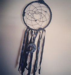 MoonChild - handmade dreamcatcher with sculpted moon & quartz crystal- ooak by coventhirteen on Etsy