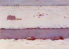 Jan Mankes (NL Snow landscape with ditch Heerenveen-Oranjewoud, Museum Belvédère Landscape Artwork, Contemporary Landscape, Wale, Smart Art, Dutch Painters, Dutch Artists, True Art, Art For Art Sake, Museum Of Modern Art
