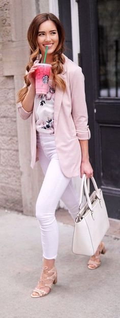 #spring #outfits woman wearing pink notch-lapel suit jacket with white pants screenshot. Pic by @mariesbazaar