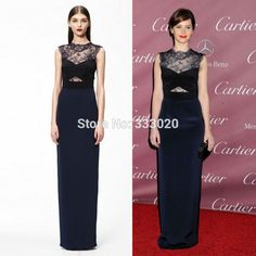 Imitation Celebrity Dresses 2015 Felicity Jones Navy Blue See Navy Blue See Through Lace Satin Red Carpet Formal Evening Gown