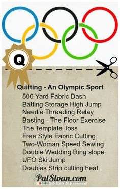 Pat Sloan Quilting as an Olympic sport button