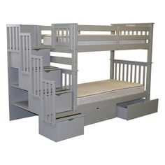 Bedz King Tall Stairway Bunk Bed over with 4 Drawers in the Steps and 2 Under Bed Drawers, Gray