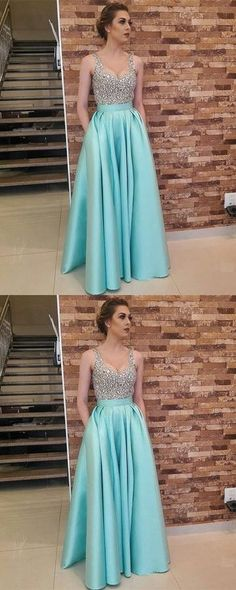 Charming Crystal Beading Prom Dress, Floor Length Long Prom Dress 51936	#RosyProm #fashionpromdress #charmingpromgown #longpartydress #simpleeveningdress #Vneckpromdress #promgown
