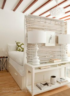 I think this bedroom is genius for an loft ..a make-shift divider at the end of this bed!